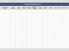 Vendor Comparison Template Vendor Comparison List
