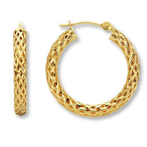 jared braided hoop earrings 14k yellow gold