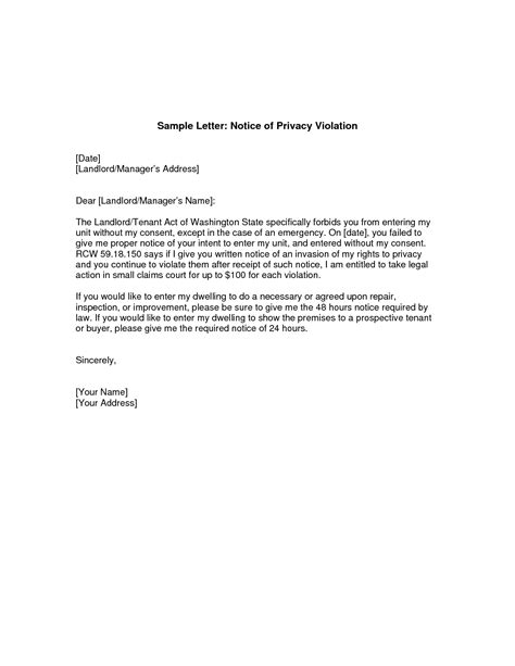 giving notice  landlord letter tenant notice