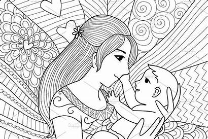 Coloring Mother Mothers Detailed Creativemarket Sketches