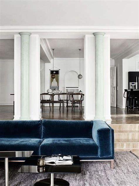 pin  sophie randall  interiors blue velvet sofa