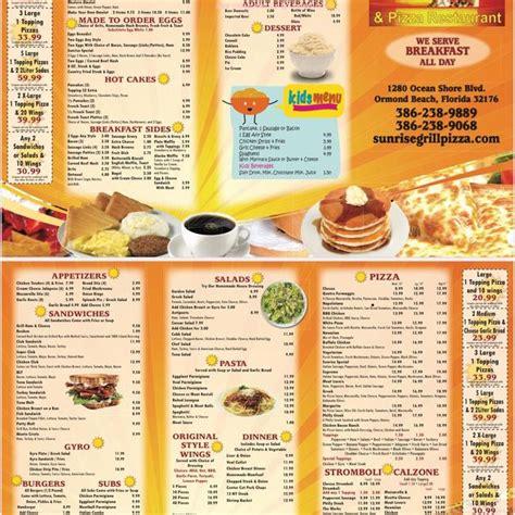 menu  sunrise grill pizza restaurant restaurant