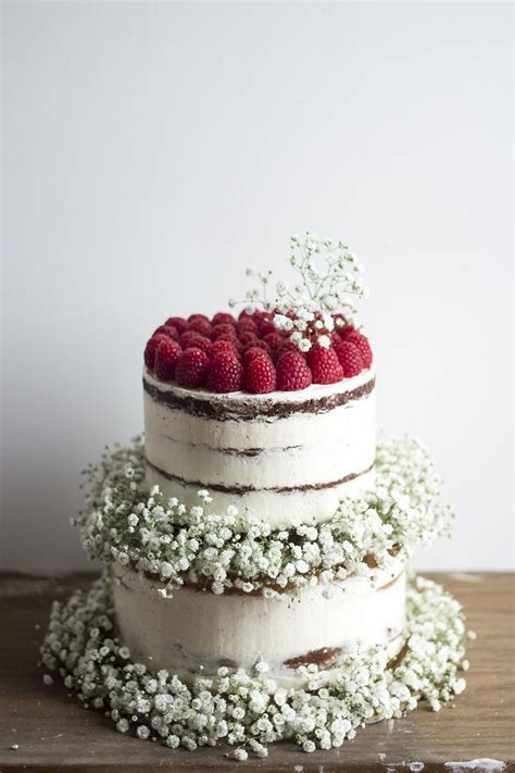 semi naked cakes  raspberries babys breath