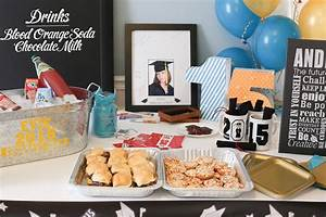 graduation party table with steel tub full of drinks, deco