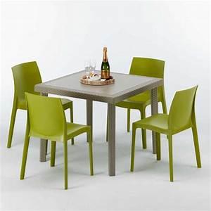 Tisch Mit 4 Stühlen : polyrattan tisch quadratisch mit 4 bunten st hlen 90x90 beige elegance ~ Frokenaadalensverden.com Haus und Dekorationen