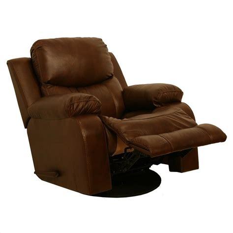 catnapper dallas leather power glider recliner in tobacco