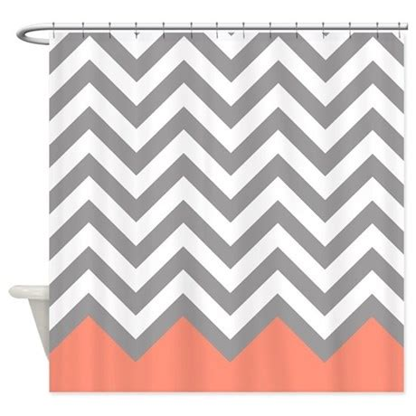 coral and gray shower curtain grey and coral chevrons shower curtain by erics designz