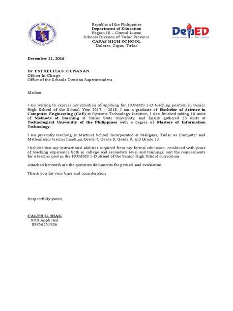 letter  intent deped