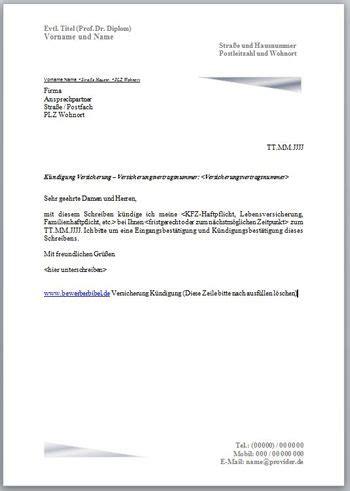 kuendigung versicherung kuendigungsschreiben vorlage