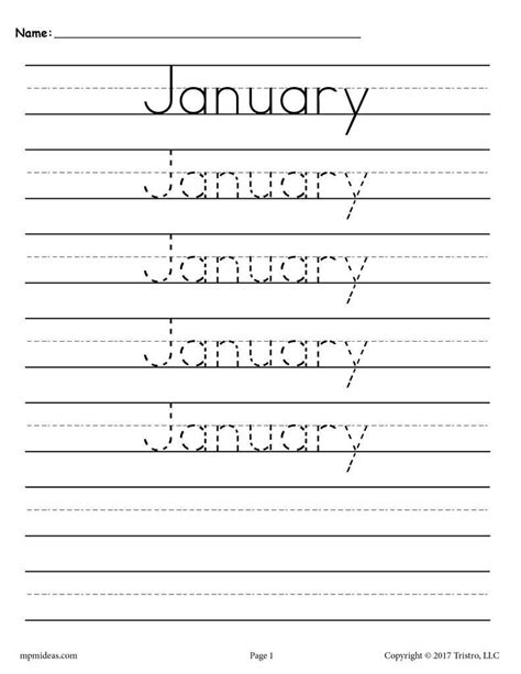 months   year handwriting worksheets months