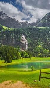 alps, fence, forest, lake, switzerland, waterfall, 4k, hd, nature