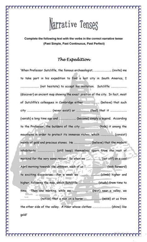 the expedition narrative tenses worksheet free esl