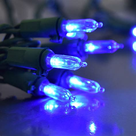 blue led mini traditional string lights 60 lights