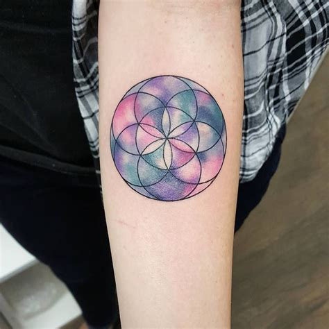 geometric watercolour flower  life jemkatattooart
