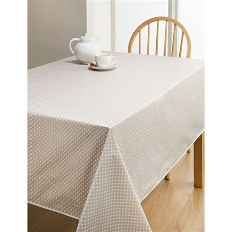 wipe clean table cloth pvc wipe clean tablecloth taupe spots kitchen b m