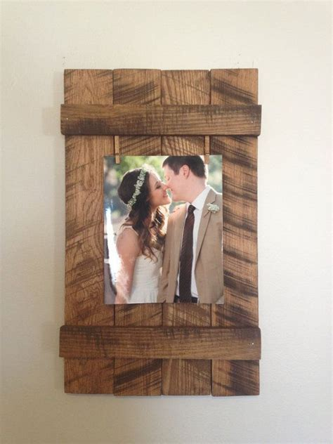 rustic wooden  picture frame rustic frame clothespin