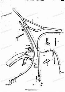 Suzuki Motorcycle 1974 Oem Parts Diagram For Handlebar