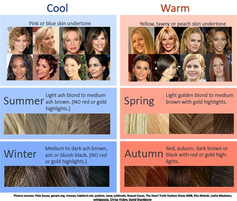 Cool Hair Tones by Cool Warm Hair Color Chart How To Determine Which Season