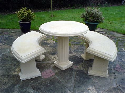 Country Pedestal Table With Benches Set Natural Cream