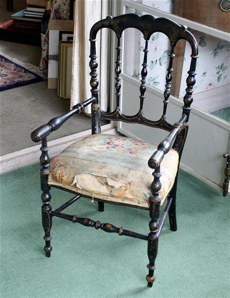 A Victorian Black Lacquered Child''s Chair Scalloped Form To