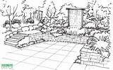 Garden Sketch Perspective Draw Drawing Sketches Vertical Landscape Patio Waterfall Creation Yard Sketching Landscaping Plans Architecture Waterfalls Deck Terrace Illustration sketch template