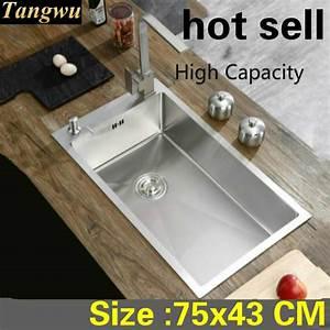 Free Shipping Apartment Luxury Large Kitchen Manual Sink