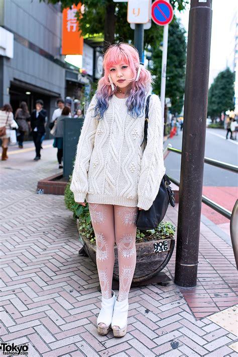 Dip Dye Hair Cable Knit Sweater And Jeffrey Tokyo Fashion