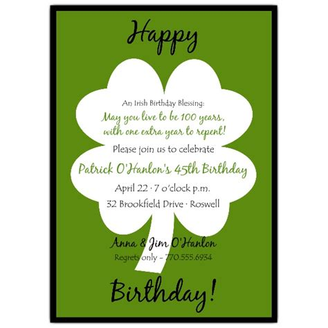 classic shamrock birthday invitations paperstyle