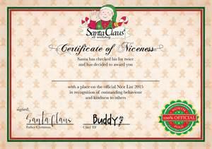 Santa Nice List Certificate Printable