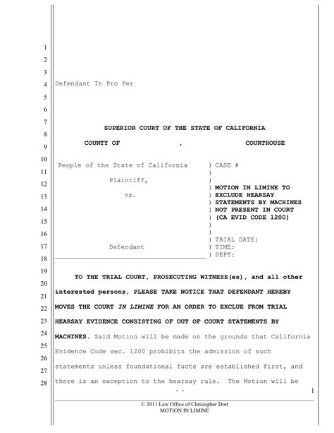 motion template pre trial motions for traffic ticket trials documents and forms
