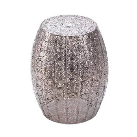 wholesale gray silver metal garden moroccan stool seat