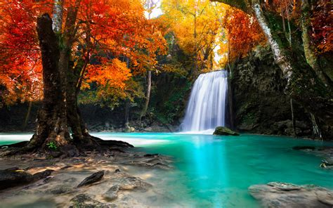 Waterfall In Kanjanaburi Thailand Landscapes Wallpaper ...