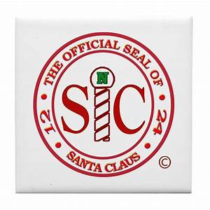 'Official Seal of Santa Claus' Tile Coaster by justbeclausnet