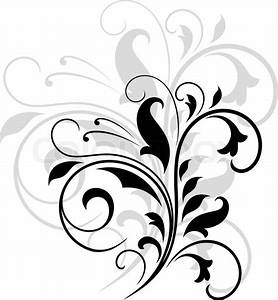 Elegant black and white swirling floral pattern with ...