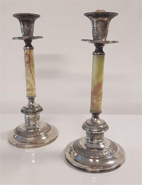 candelieri antichi antichi candelieri in argento e onice stile impero italy