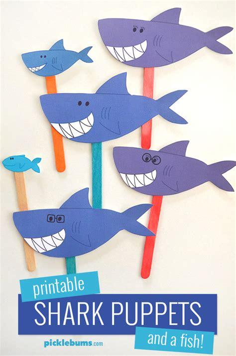 printable shark puppets picklebums
