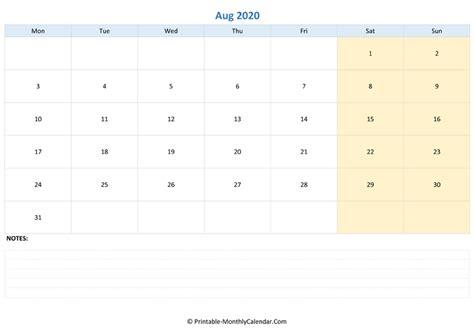 august  editable calendar  notes landscape layout