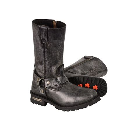 real leather biker boots men s motorcycle genuine leather distressed grey 11 inch boot