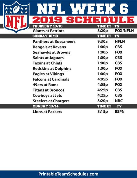 printable nfl week  tv schedule
