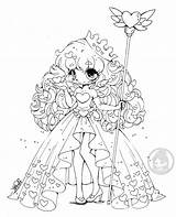 Chibi Coloring Yampuff Pages Queen Chibis Lineart Heart Fairy Hearts Colouring Adult sketch template