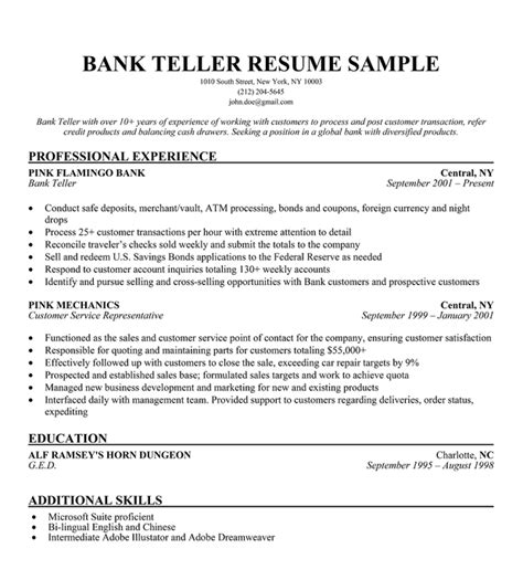 Banking Experience Resume by Bank Teller Resume Sle Resume Companion Career