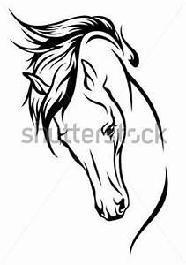 Pferdekopf Schwarz Weiß : pferdekopf mit fliegender m hne vektor illustration stock vektorgrafik ~ Watch28wear.com Haus und Dekorationen