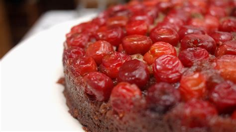 sour cherry upside  cake  cooked cooking