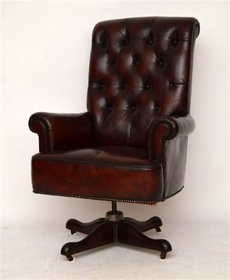 Large Armchair by Large Antique Leather Swivel Desk Armchair 293354