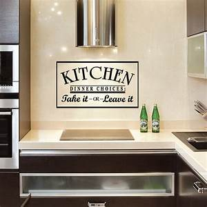 Kitchen dinner choices take it or leave it wall art decals for Kitchen colors with white cabinets with canvas wall art quotes diy