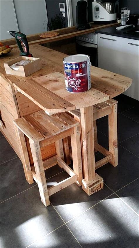 pallet kitchen counter  breakfast table storage