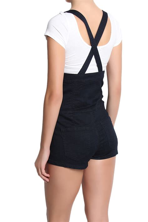 Suspender Denim Shorts themogan navy high waisted crossback suspender shortalls