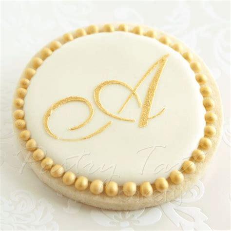gold monogram letter wedding cookie favors  doz