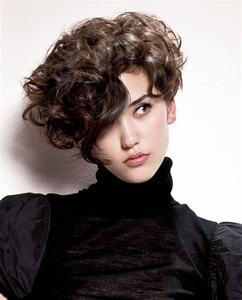 asymmetrical short curly hair styles   short bob