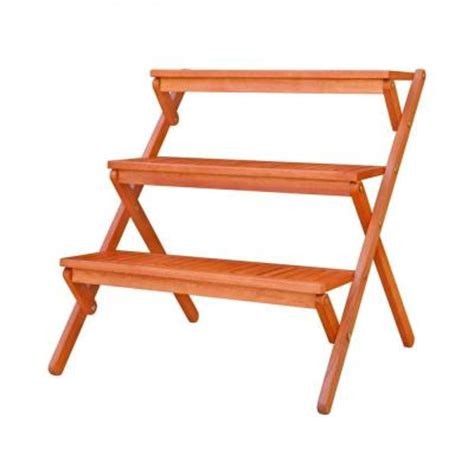 Patio Plant Stands Tiered by Vifah 3 Tiered Outdoor Wood Plant Stand V499 The Home Depot